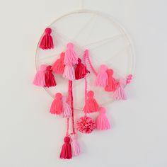 Yarn Tassel & Pompom Dreamcatcher | Nursery Decor