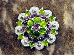 HSCN050GRPUR-GREEN PURPLE CRYSTALS BERRY CONCHO RHINESTONE HEADSTALL SADDLE TACK BLING COWGIRL