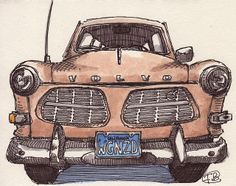 Volvo -- with a pen. Volvo Amazon, Drawn Art, Volvo Cars, Cute Cross Stitch, Car Posters, Car Sketch, Car Drawings, Urban Sketching, Car Painting