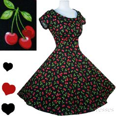 New Retro Cherry Print Black 50s Style Dress S XL Rockabilly Full Skirt Swing Party Cotton Red Halloween Costume Short Sleeves by pinupdresses on Etsy