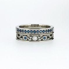 Engagement ring set Teal diamond ring by TorkkeliJewellery on Etsy
