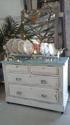 Vintage Victorian dresser/chest of drawers painted in Pure Earth Paint: Ozone and White Jade with Black Wax.     barndancevintage.com facebook.com/barndancevintage