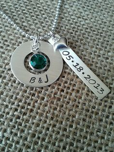 Personalized Hand Stamped Washer/Rectangle Mom by StampedEvermore,
