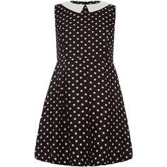 Mela Loves London Spot Print Round Collar Dress (£25) ❤ liked on Polyvore featuring dresses, black, clearance, print midi dress, pleated midi dress, dot dress, black sleeveless dress and sleeveless dress