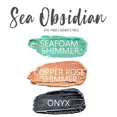 Sea Obsidian Eye Trio uses three SeneGence ShadowSense: LE Seafoam Shimmer ShadowSense, Copper Rose Shimmer ShadowSense, and Onyx ShadowSense.  These cream to powder eyeshadows will last ALL DAY on your eye.  #shadowsense #eyeshadow