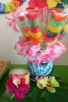 Candy skewers at a Hawaiian Luau Birthday Party!  See more party ideas at CatchMyParty.com!  #partyideas #hawaiian