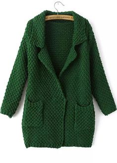Green Lapel Long Sleeve Pockets Knit Cardigan 28.33