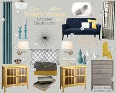 Modern Vintage Master Bedroom. I like the gold/mustard with the navy & turquoise.