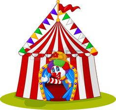 illustration of Cartoon clown come out from circus tent photo