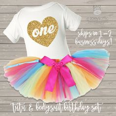 1st birthday rainbow tutu and bodysuit set, sparkly glitter heart first birthday girl outfit