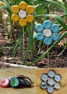 15 Fun Garden Art Crafts to Spruce up your Garden - My to do list. - 15 Fun Garden Art Crafts to Spruce up your Garden Bottle Top Crafts, Bottle Cap Projects, Diy Bottle, Bottle Garden, Summer Crafts, Fun Crafts, Arts And Crafts, Beer Cap Art, Beer Caps