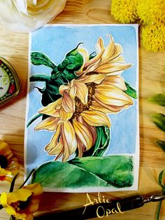 Sunflower  Original Watercolor Painting by Arlie Opal by ArlieOpal