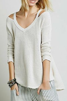 V-Neck Cut Out Sweater