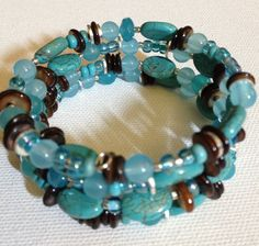 4 strand turquoise, amazonite, and amber shell memory wire bracelet