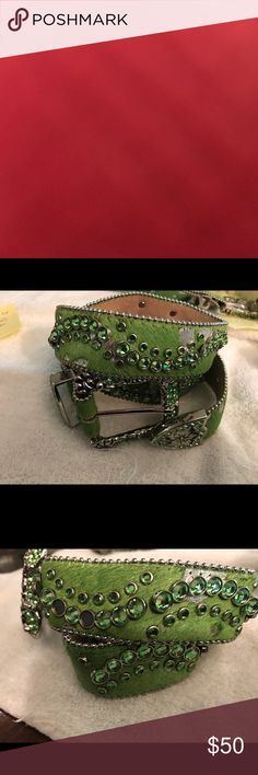 """GREEN SWAROVSKI CRYSTALS Leather green belts with pretty green Swarovski crystals embedded.    Green with some silver small places intermixed.   1 1/2"""" wide.    New, never worn.   Were left over from a charity event.   Not light weight or flimsy. Have weight.   Real show stoppers! Accessories Belts"""