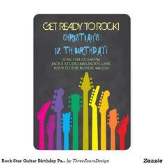 Rock Star Guitar Birthday Party Invitations