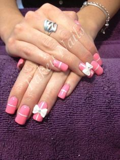Present nails with 3D bows, pink nails by Fakeit Nails