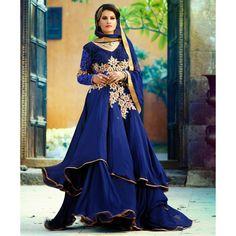 Blue Georgette Designer #Anarkali #Suits With Dupatta- $93.70