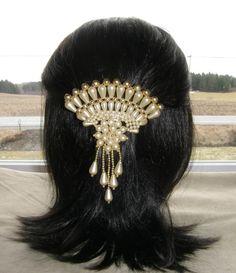 NICE VTG HAIR CLIP GRIP BARRETTE HEAD PIECE BRIDAL WEDDING FAUX PEARLS GOLD BEAD 45$