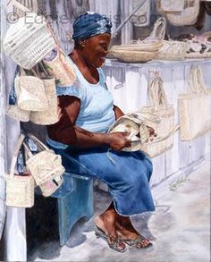 The Plait Lady by Roshanne Minnis-Eyma.  Beautiful Bahamian art I found online