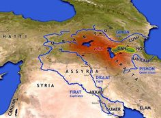 Map of Eden Exodus Bible, Bible Topics, Semitic Languages, Bible Mapping, East Of Eden, Ancient Mesopotamia, The Son Of Man, Garden Of Eden, Bible Knowledge