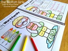An educational COLORING BOOK!  Color by Word Family Coloring Book!  Such a FUN way to review reading and writing for summer!