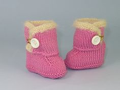 Ravelry: Baby Fur Trim One Button Booties pattern by Christine Grant