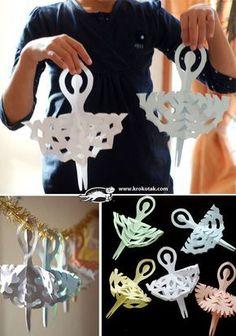 como fazer bailarina de papel decoração festa quarto menina