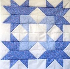 """The jackson star quilt block is a real beauty but very easy to make. Made here as a large 24"""" square in two shades of blue. 2 quilt designs included"""
