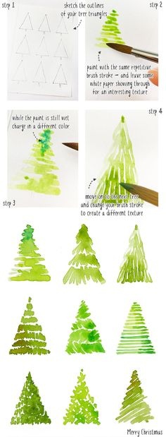 painting a watercolor Christmas tree card step by step .- painting a watercolor Christmas tree card, # watercolor # step # xmas tree card - Watercolor Christmas Tree, Watercolor Trees, Easy Watercolor, Christmas Paintings, Watercolor Cards, Christmas Cards Drawing, Simple Christmas Tree Drawing, How To Draw Christmas Tree, Christmas Decorations Drawings
