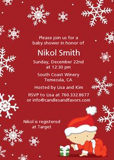 christmas themed baby shower invitations | Christmas Baby Snowflakes - Baby Shower Invitations Red Background