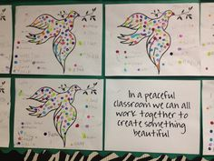 Doves for Peace. Kids worked together by adding dots to each others doves. Each student is their own paint colour. The lesson was that when we all work together, awesome things happen!