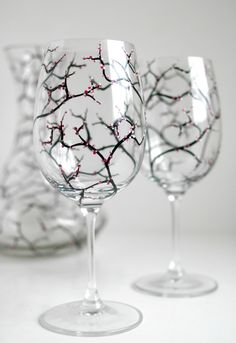 Hand Painted Wine Glasses With Spring Cherry Blossoms - Pair Of 2 by Mary Elizabeth Arts on Gourmly