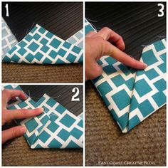 DIY Fabric Floorcloth. Cover a rubber mat with fabric, glue. Seal with brushed on water-based polyurethane to protect the fabric.