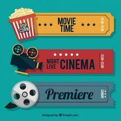 Ретро билеты кинокамеры с аудиовизуальными элементами и попкорна