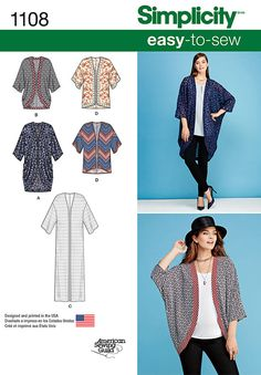 misses' kimono pattern features styles for every occasion. pattern includes draped kimono in short, or long with contrast bands, straight floor length kimono, and short kimono with or without trim.