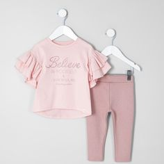 Fall Outfits Two piece set Cotton fabric 'Believe in yourself' glitter print Short frill tiered sleeve Crew neck Jersey fabric leggings Elasticated waistband Kids Girls Tops, Kids Outfits Girls, Cute Outfits For Kids, Toddler Girl Outfits, Fall Fashion Outfits, Kids Fashion, Baby Leggings, Little Girl Fashion, Kids Wear