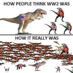 the_ww2_memoirs It's been requested so here you are! I've finally posted a WW2 meme! There isn't much to say since it's a meme so this caption is going to be very short but the meme holds some truth to it. The Allies would've never of even dreamt of winning the war without the Soviet Union but the Soviets couldn't keep fighting without equipment which America and Britain provided. 2017/03/12 22:55:26