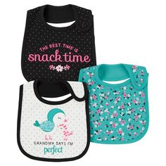 Baby Girls' 3 Pack Bib Mint Bird Grandma - Just One You™Made by Carter's®. Image 1 of 1.