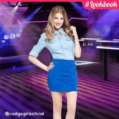 A camisa jeans veio pra ficar! A peça que combina com tudo fica perfeita com uma bela saia azul royal! #lookbook #CódigoGirls www.codigogirls.com.br @codigogirlsoficial