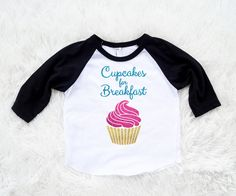 Cupcakes for breakfast One piece Bodysuit let them by SofSBoutique