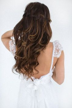 braided hairstyle and beautiful wedding dress
