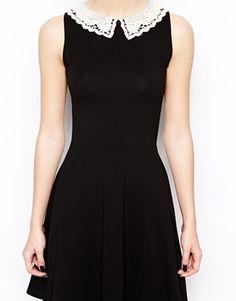 New Look Crochet Collar Plain Skater Dress