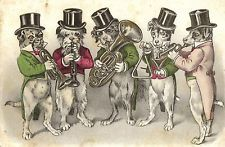 Bulldog poodle Dachshund dressed dogs band music artist postcard