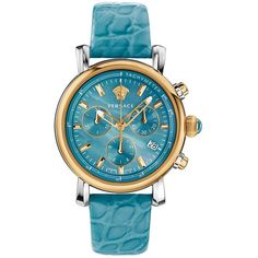 Versace Versace Day Glam Analog Display Swiss Quartz Turqoise Watch... (£865) ❤ liked on Polyvore featuring jewelry, watches, blue, versace jewelry, dial watches, bezel watches, versace watches and blue jewelry