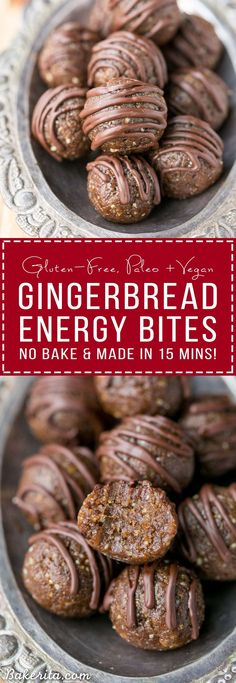 Gluten free - Vegan - Paleo - Sugar free - No baking required to make these Gingerbread Energy Bites! These gluten-free, Paleo + vegan energy bites are made with dates, pecans, and gingerbread spices - they're the perfect healthy snack to fuel your day. Healthy Desserts, Raw Food Recipes, Snack Recipes, Cooking Recipes, Healthy Recipes, Paleo Dessert, Baking Desserts, Healthy Breakfasts, Recipes With Dates Healthy
