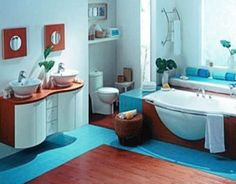 Bathroom Color Schemes For Small And Modern Bathrooms : Fresh Blue White Bathroom  Color Schemes.