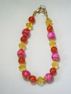 Pink, Orange and Gold Bracelet http://www.bestjewelry4you.com/