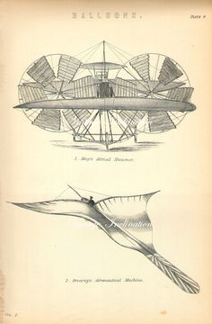 FLYING BALLOONS plate 4, engraving 1890 vintage print illustrations 2 flying machines. $25.00, via Etsy.
