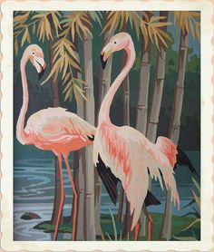 RARE Large 1950's Exotic Flamingos & Bamboo by butchwaxvintage